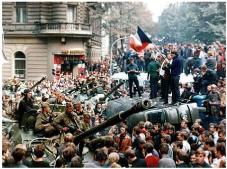 Peaceful obstruction and resistance to the Warsaw Pact invasion of 1968.