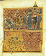 The murder of Saint Wenceslas as depicted by an artist in the 10th century.