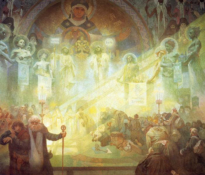 An enormous panel from the Slav Epic by Alfons Mucha.