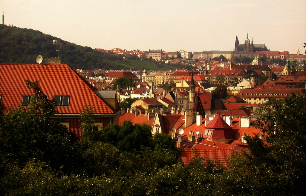 One of the many panoramic views of Prague to be seen from the walls of Vyšehrad.