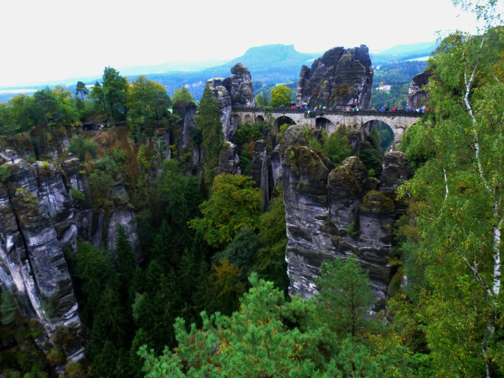 The Bastei bridge. The day was a bit grey and drizzly and our guide Marek offered us rain gear in case we didn't have our own.
