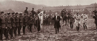 Masaryk reviewing Czech Legion troops in Russia, 1917.