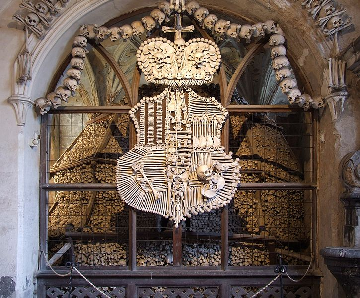The coat of arms of the Schwarzenberg family created by bone-stacker František Rint.