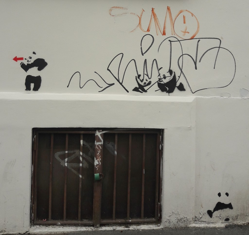 Not too long ago, these pandas appeared all over Žižkov, pointing the way to somewhere with a trail of red arrows.