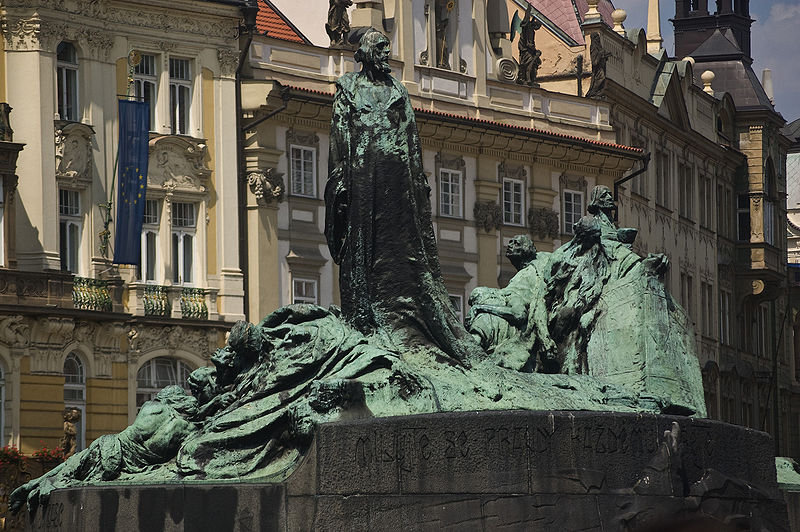 The Jan Hus memorial on Old Town Square, created by Czech sculptor Ladislav Šaloun in 1915, and dedicated on the 500th anniversary of the death of Hus.
