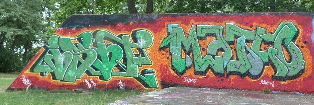 A legal graffiti wall in Žižkov as it appears today.