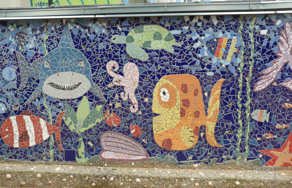 This mosaic piece at the park Heroldovy Sady was done by the group Free Mozaik with permission from the town council of Prague 10. Click the link to see a lot more of their impressive work.