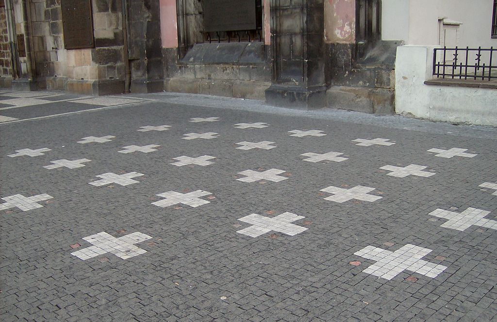 The white crosses which mark the spot of the execution of the 27 Bohemian noblemen on the Old Town Square in Prague.
