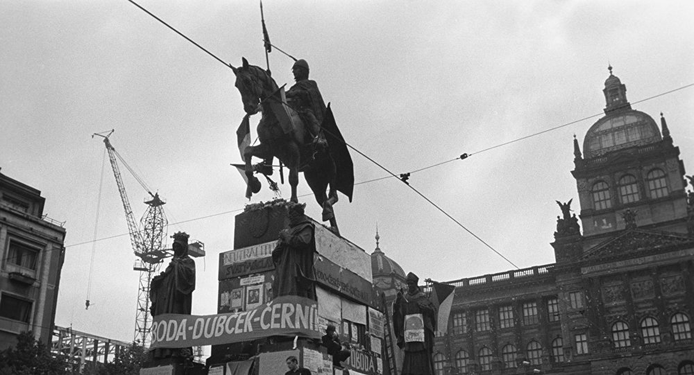 "It is believed that the King Wenceslas, the Patron Saint of Czechs, should safe the country from the danger. That's why people always gather bellow his statue in the Wenceslas Square and ""call for help"". He never showed up, obviously."