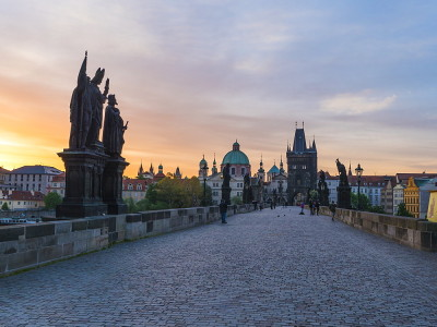 Charles bridge during the Early Morning Tour in Prague