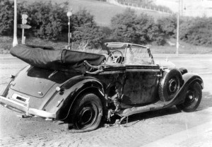 Heydrich's car after the assassination.